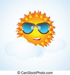 happy sun in cloud with eye-wear