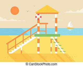 illustration of happy sunny summer day at the beach, ...