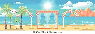 illustration of happy sunny summer day at the beach with ...