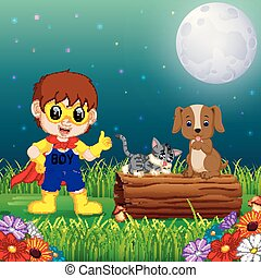 happy super hero boy at night in the park with pets animal
