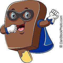 Happy super hero ice cream chocolate cartoon