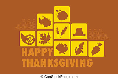 illustration of Happy Thanksgiving collage background