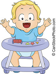 Toddler Boy in Baby Walker - Illustration of Happy Toddler...