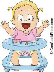 Toddler Girl in Baby Walker