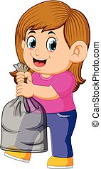illustration of happy young woman holding garbage bag