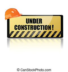 hardhat on underconstruction board - illustration of hardhat...