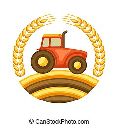 Illustration of harvest tractor with ripe wheat ears. ...