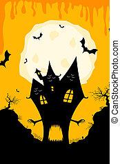 illustration of haunted halloween house