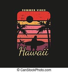 Illustration of hawaii beach paradise for surf