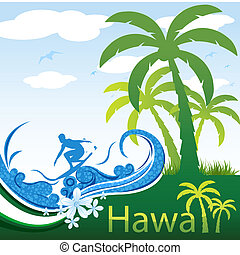 hawaii - illustration of hawaii on abstract background