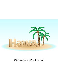 hawaii - illustration of hawaii on white background