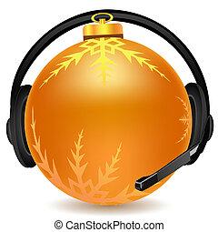 headphone with christmas ball