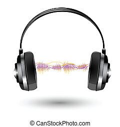 illustration of headphone with sound wave on white background