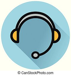 headphones circle blue flat icon