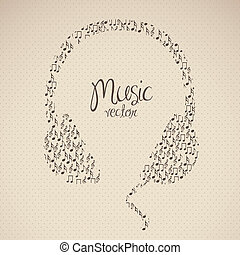 illustration of headphones, formed with small musical notes,...