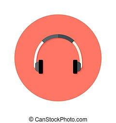 Headset Flat Circle Icon