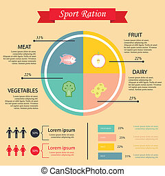 illustration of health lifestyle infographic in flat...