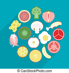 illustration of healthy food in flat design
