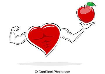 healthy heart holding apple