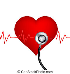 healthy heart with stethoscope - illustration of healthy...