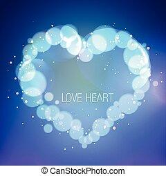illustration of heart in bokeh effect