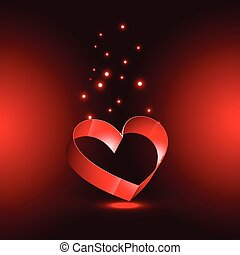 illustration of heart in red background