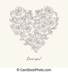 Heart shape with roses