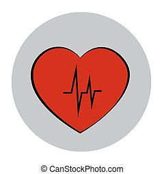 Illustration of heart with heartbeat,