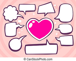 illustration of heart with speech comics bubbles on pink