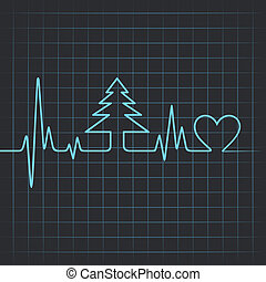 heartbeat make christmas tree - Illustration of heartbeat...