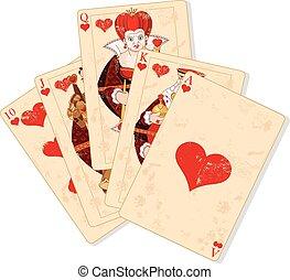 Illustration of Hearts royal flush