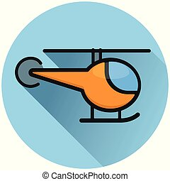 helicopter circle blue flat icon