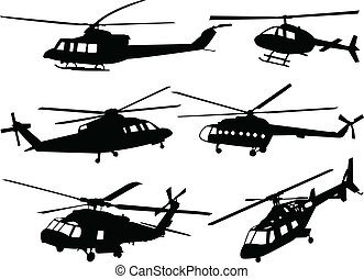 helicopters silhouette collection - illustration of...