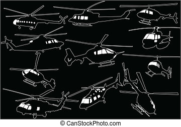 Illustration of helicopters