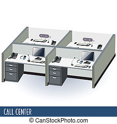 call center - Illustration of help desk or call center...