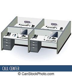 call center - Illustration of help desk or call center...