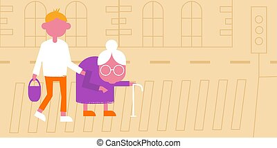 Illustration of helping an old lady