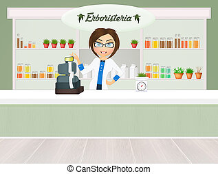 illustration of herbalist in the shop