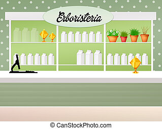 illustration of herbalist shop