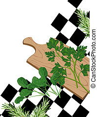 Illustration of Herbs on cutting board with white text space