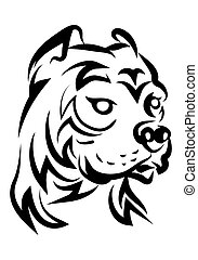 illustration of hideous pitbull dog tattoo over isolated...