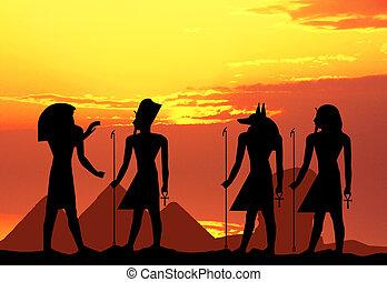 illustration of hieroglyphics silhouette