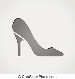 high heels grey icon - Illustration of high heels grey icon