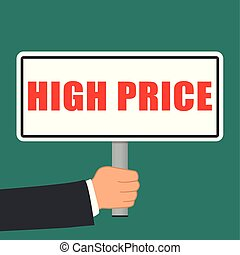 high price sign flat concept