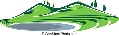 Illustration of hills and lake - Illustration of green grass...