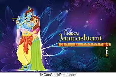 Radha and Lord Krishna on Janmashtami - illustration of...