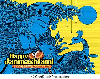 Radha and Lord Krishna on Janmashtami - illustration of...