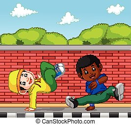 hip hop dancer cartoon - illustration of hip hop dancer...