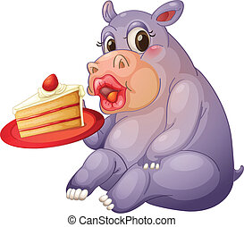 hippopotamus and pastry - illustration of hippopotamus and...