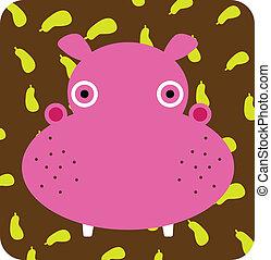 illustration of  hippopotamus icon